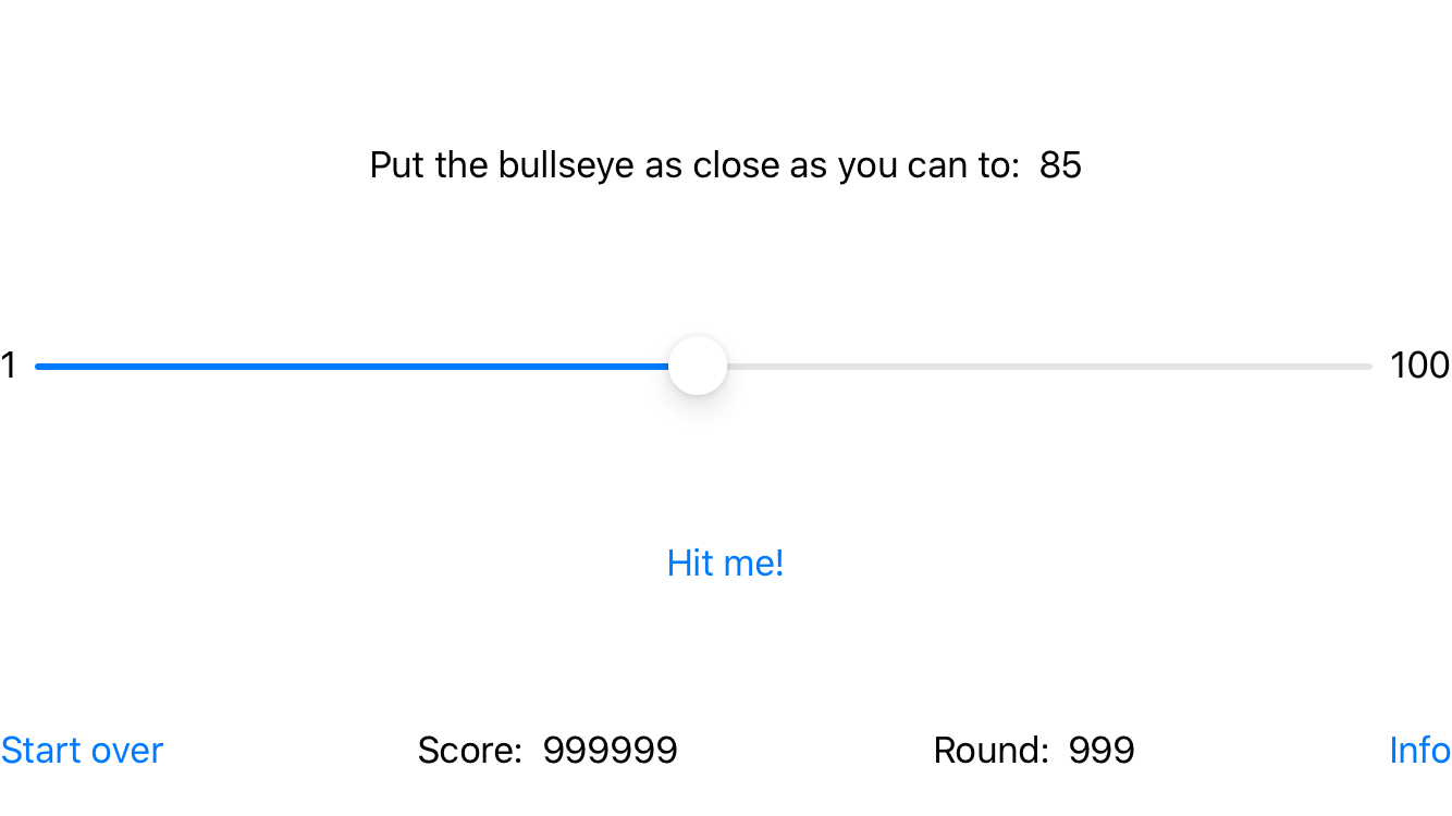 The app screen, now with a random target value