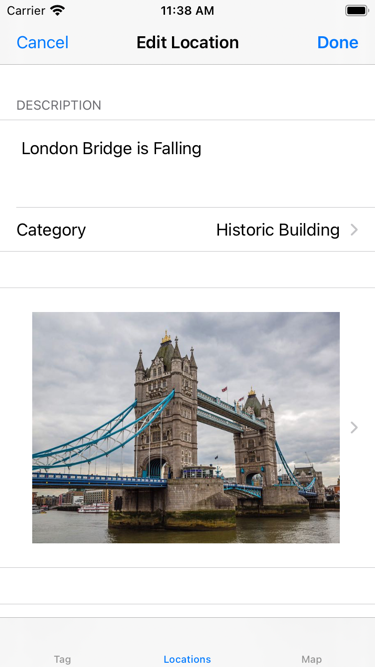 A photo in the Tag Location screen