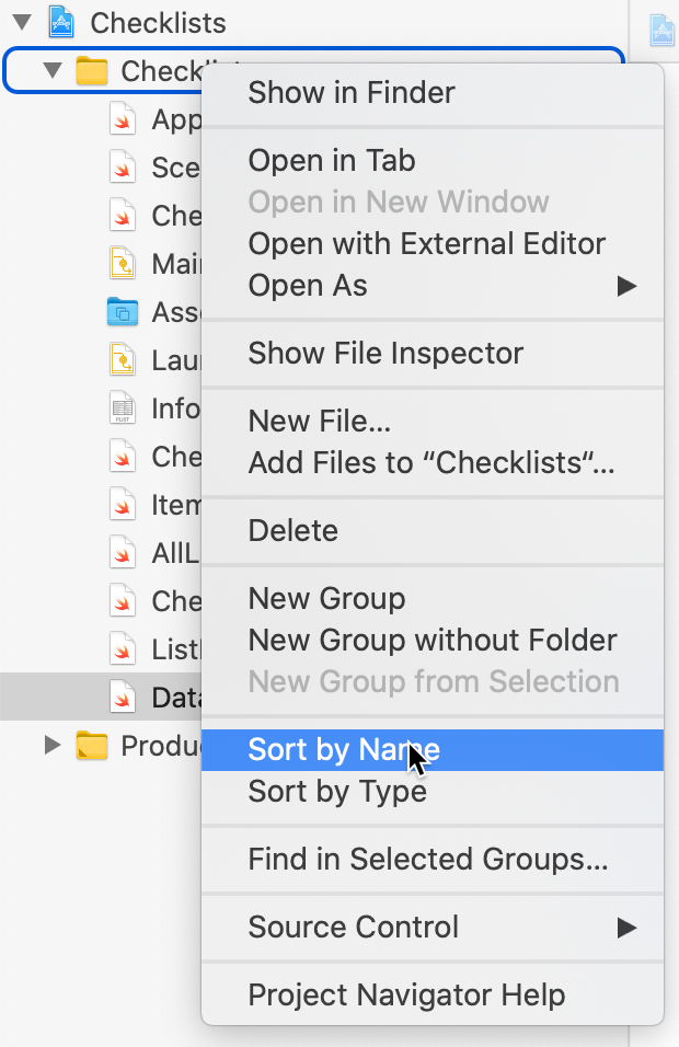 Context menu for folder