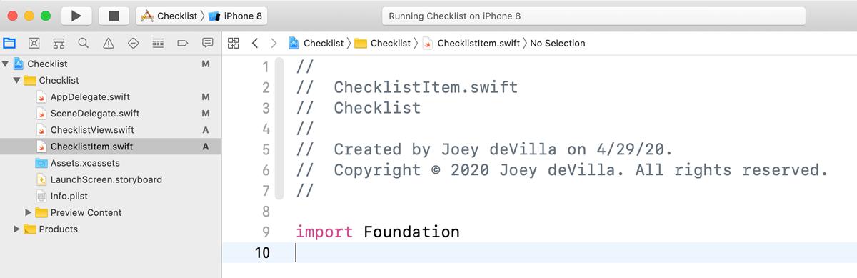 The new ChecklistItem.swift file, now closer to ChecklistView.swift