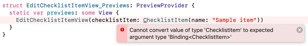 The error message that appears in the preview section