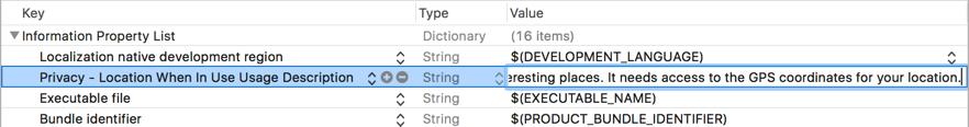 Adding the new item to Info.plist