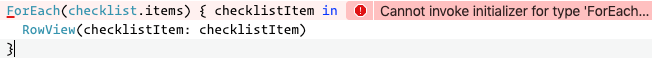 The error message that appears in ChecklistView