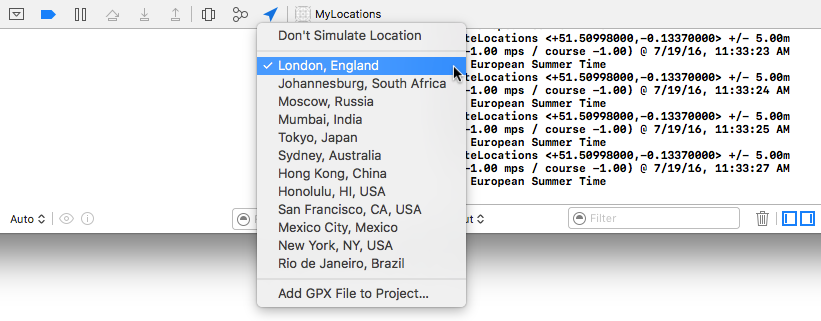 Simulating locations from within the Xcode debugger