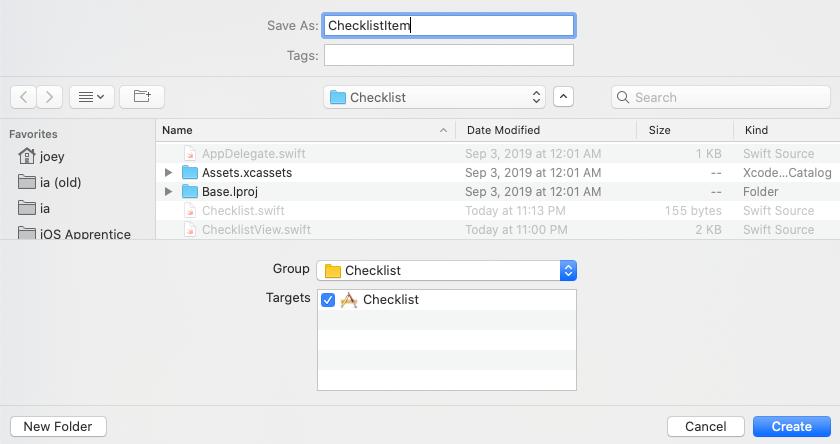 Name the second new file 'ChecklistItem'