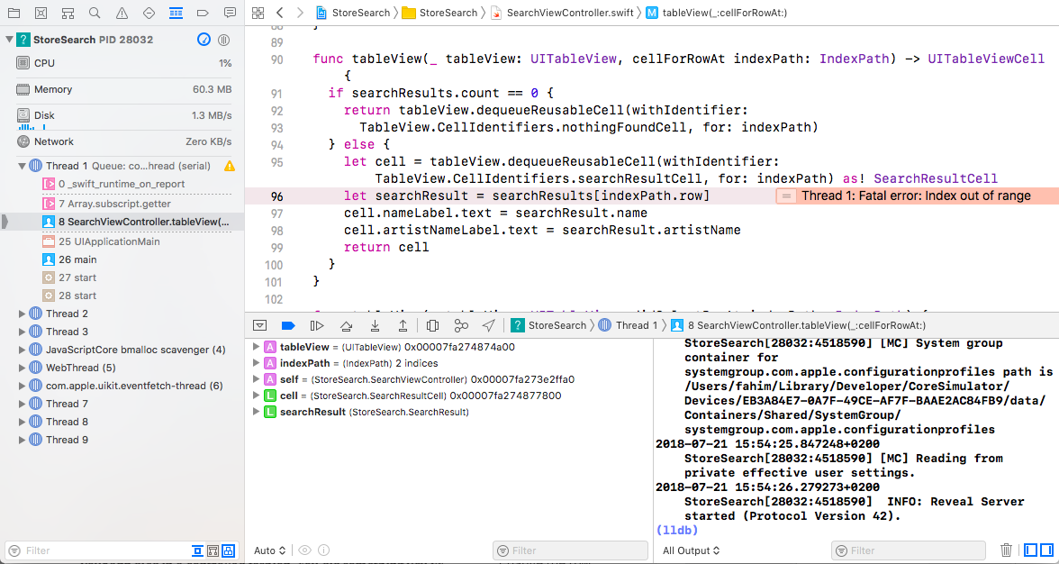 The Xcode debugger appears when the app crashes