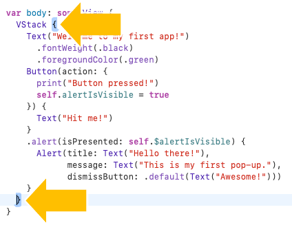 Xcode shows you the complete block for braces