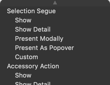 The Action Segue popup