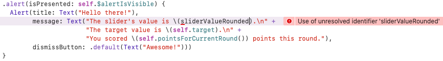 Xcode displays an error message about sliderValueRounded
