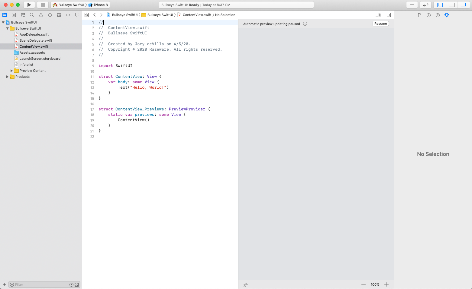 Xcode displays a new SwiftUI project