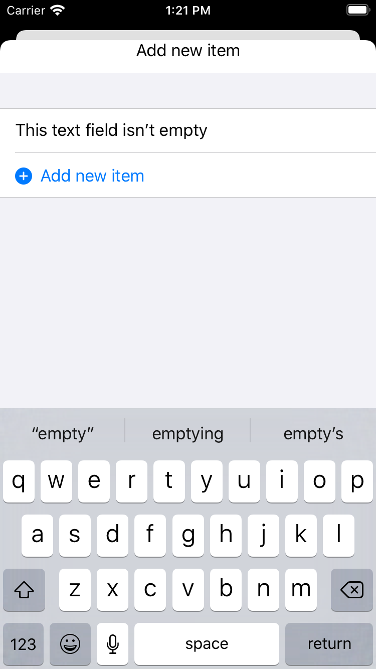 The 'Add new item' sheet, with a non-empty text field and an enabled button