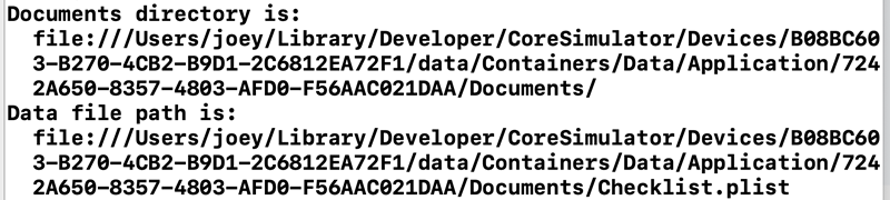 Console output showing Documents folder and data file locations