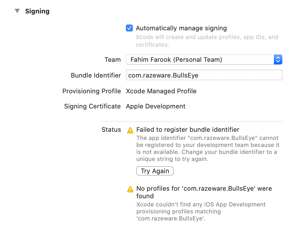 Signing/team set up errors