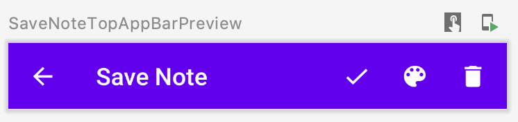 SaveNoteTopAppBar Composable (Editing mode) — Preview