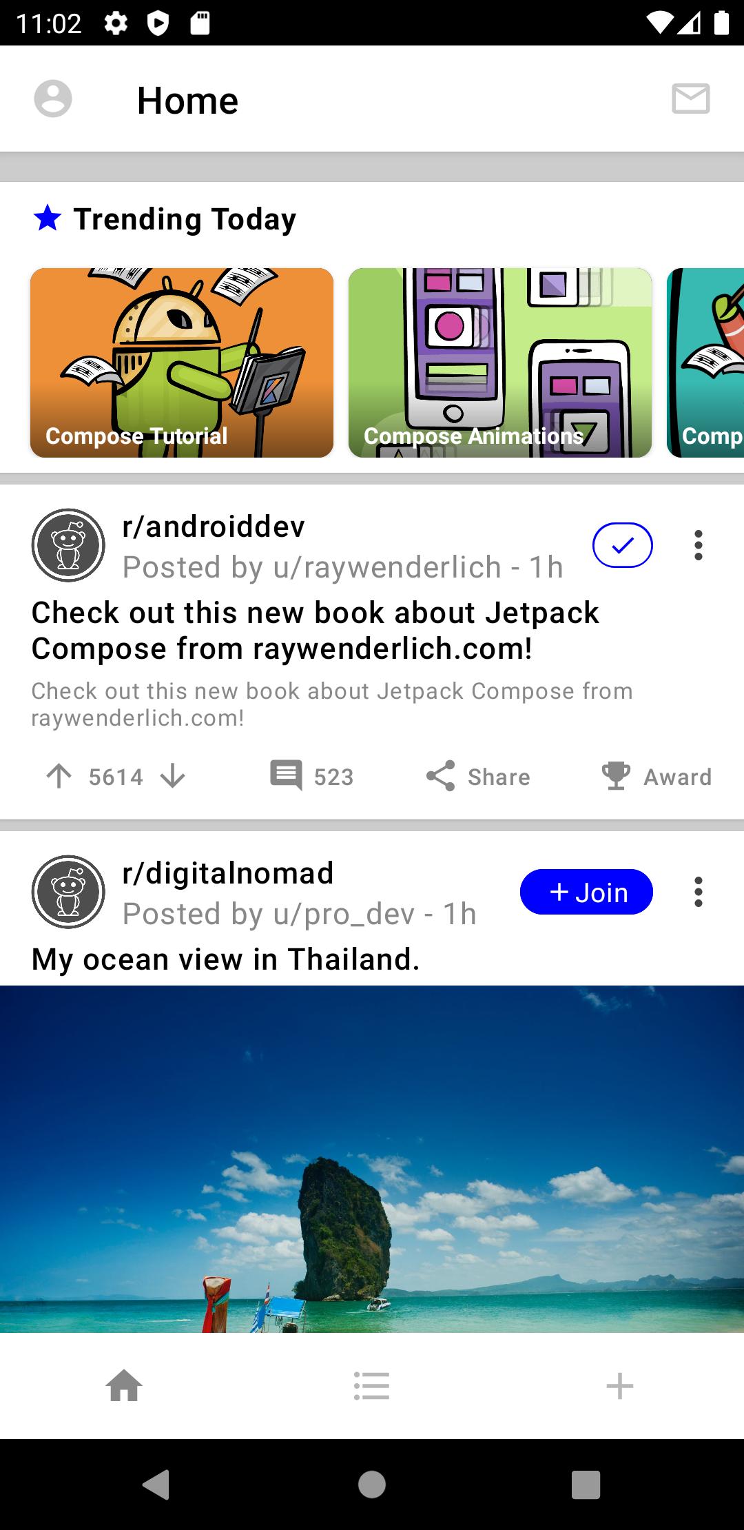 Trending topics on the Home screen