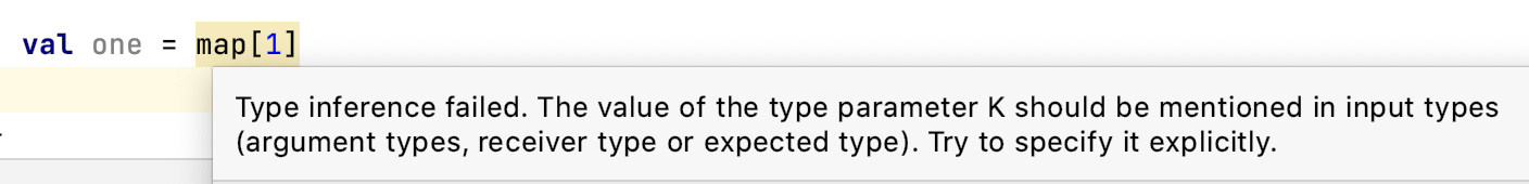 Type inference failed. The value of the type parameter K should be mentioned in input types. Try to specify it explicitly.