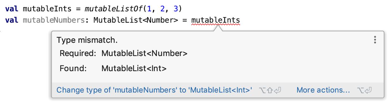 Type mismatch. Required: MutableList<Number>, Found: MutableList<Int>
