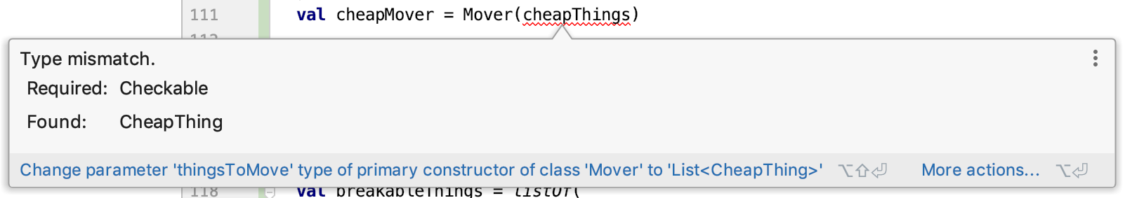 Type mismatch. Required: Checkable, Found: CheapThing