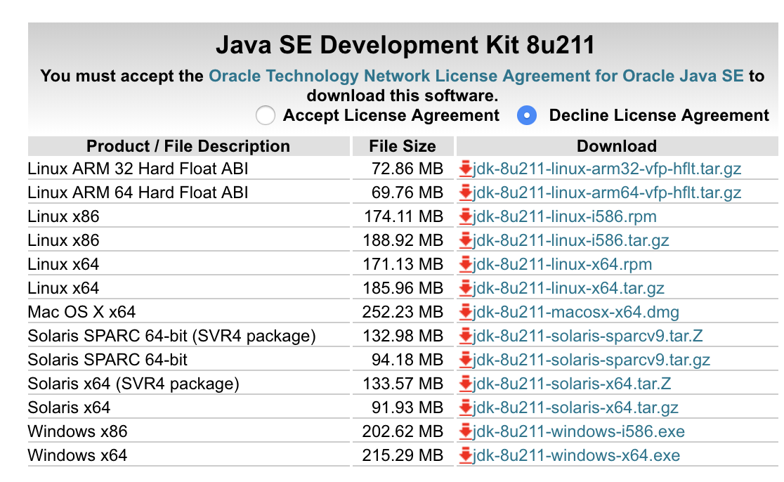 JDK download from oracle.com