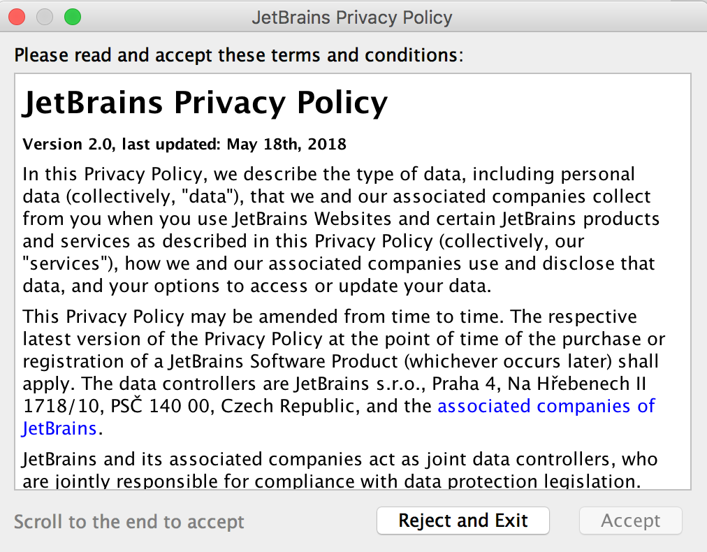 Read and accept JetBrains Privacy Policy