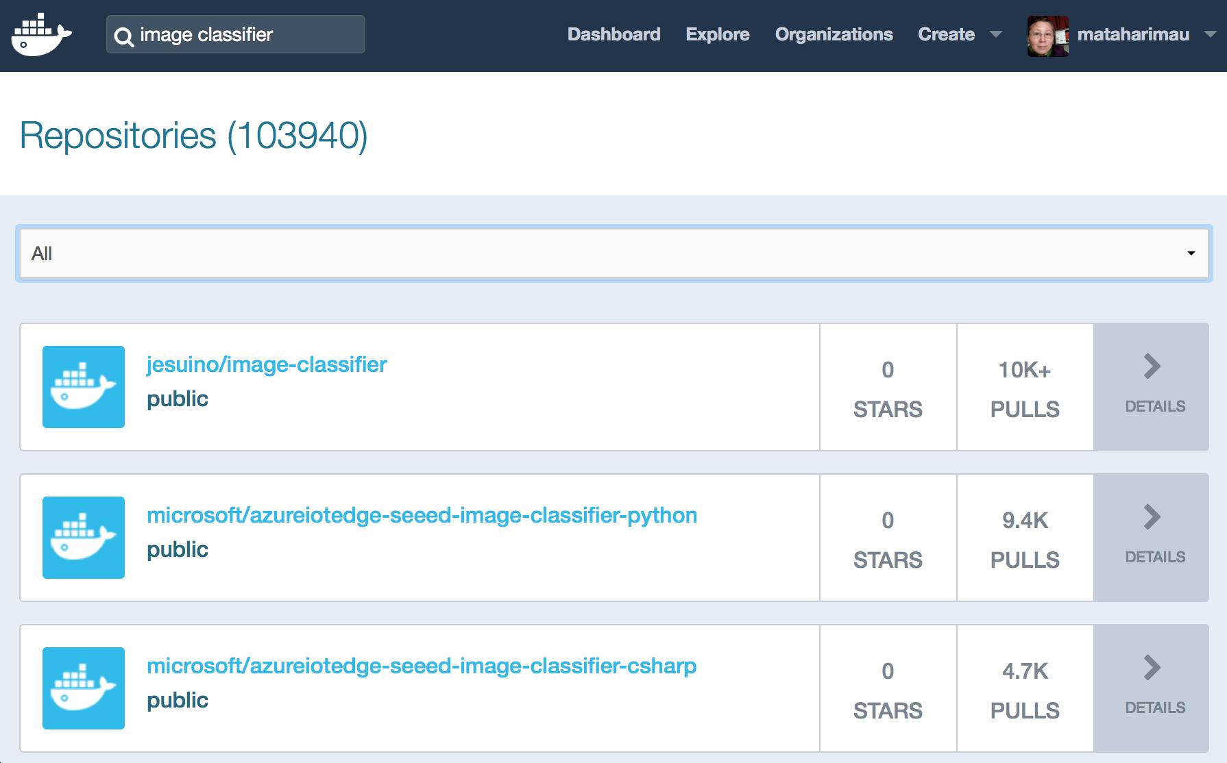Search Docker Hub for image classifier