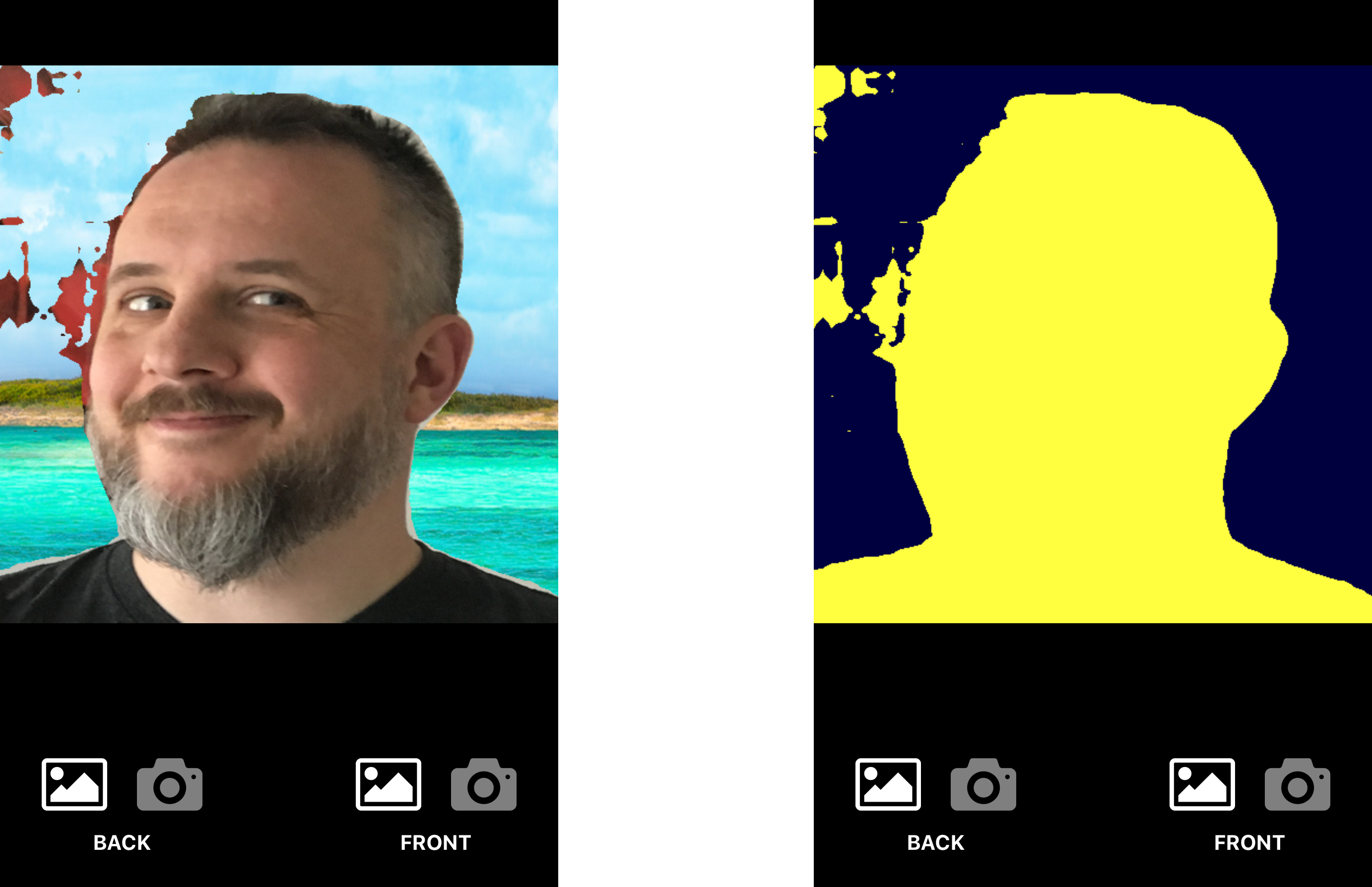 The author on well-deserved fake holiday (left), the corresponding segmentation mask (right)