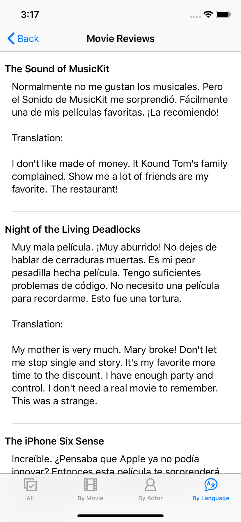 SMDB app with translated reviews