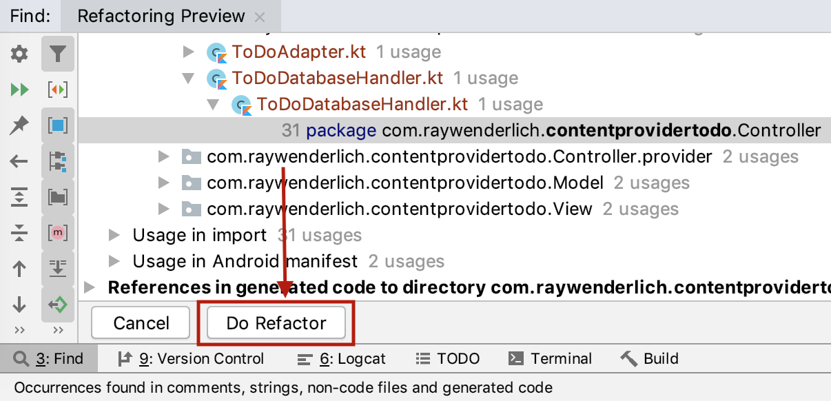 Do Refactor button to rename the package