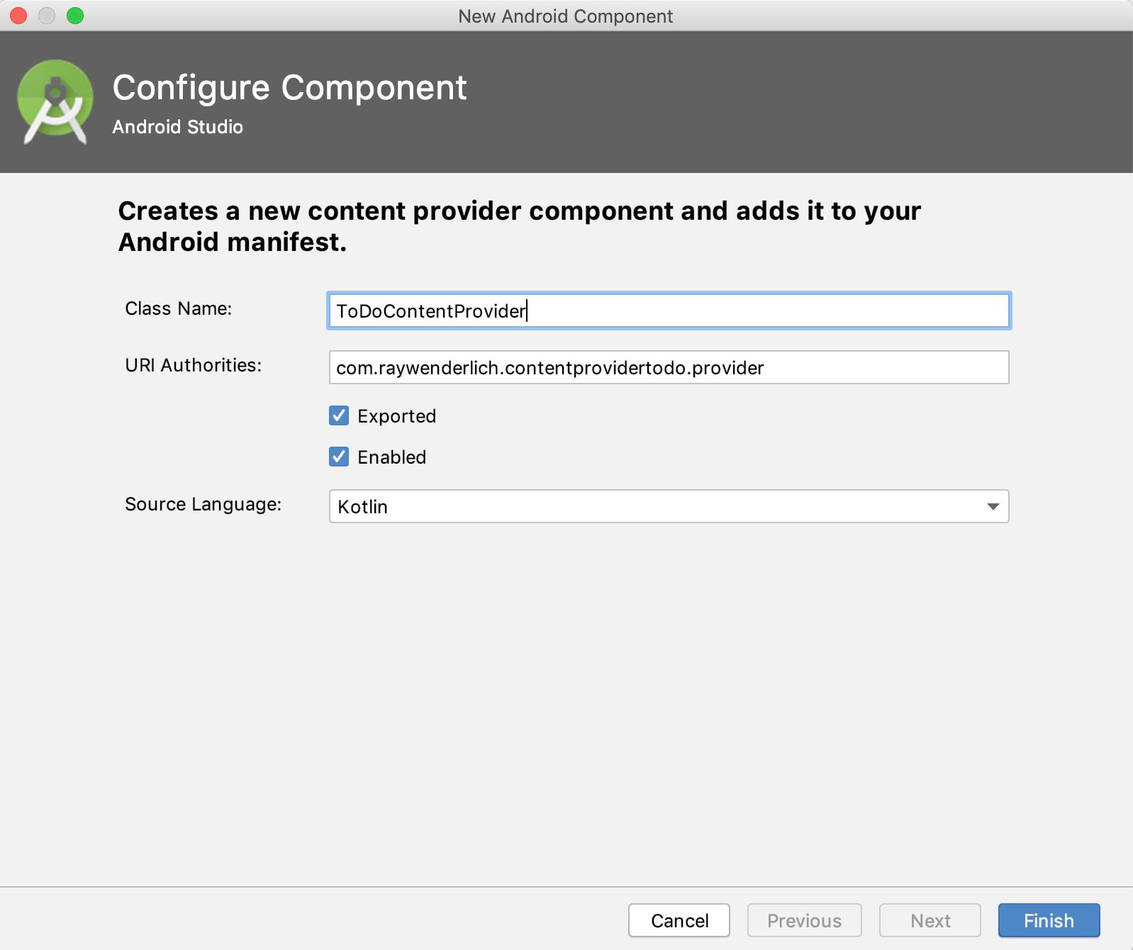 Add a Content Provider dialog
