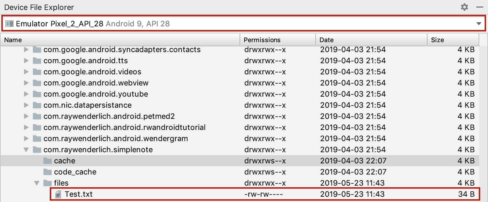 Seeing the File in Device File Explorer