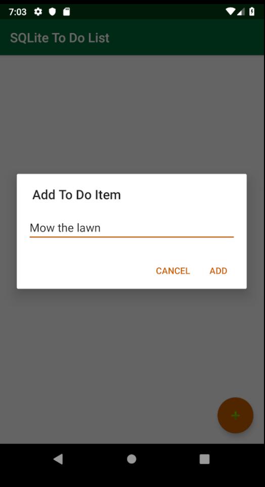 Adding an item